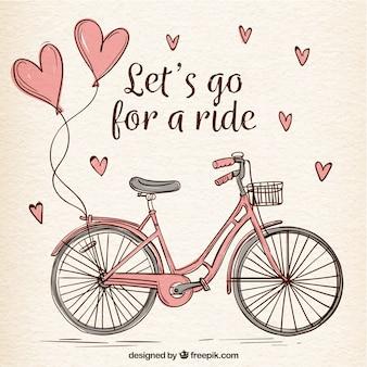 Handgezeichnetes fahrrad mit süßen herzen