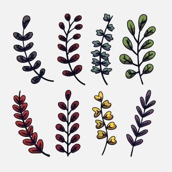 Handgezeichnetes farbiges blätterset