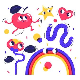 Handgezeichnetes flaches design der trendigen cartoon-elementsammlung