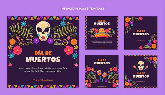 Handgezeichnetes flaches design dia de muertos ig post
