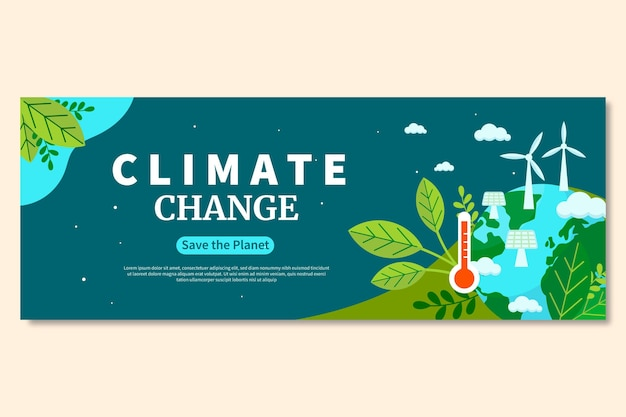 Handgezeichnetes flaches design klimawandel-facebook-cover
