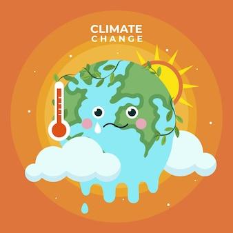 Handgezeichnetes flaches design-klimawandelkonzept
