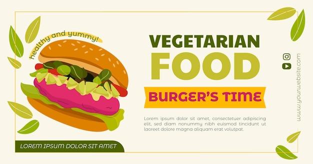 Handgezeichnetes flaches design vegetarisches essen facebook-post