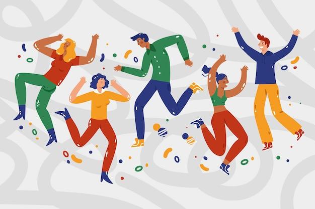 Handgezeichnetes flaches design von menschen, die springen