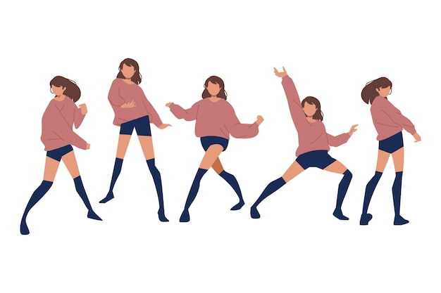 Handgezeichnetes flaches design von tanzenden menschen