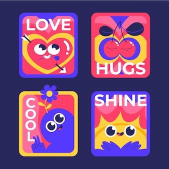 Handgezeichnetes flaches design von trendigen cartoon-abzeichen und etiketten