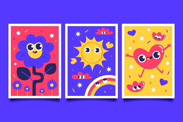 Handgezeichnetes flaches design von trendigen cartoon-covern