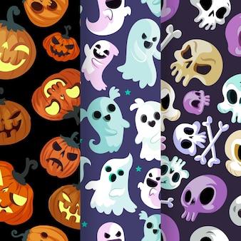 Handgezeichnetes flaches halloween-musterdesign