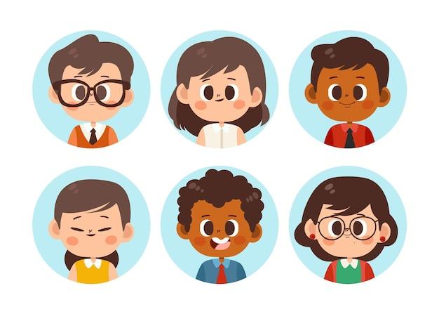 Handgezeichnetes flaches profil icons pack