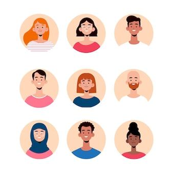 Handgezeichnetes flaches profilsymbol Kostenlosen Vektoren