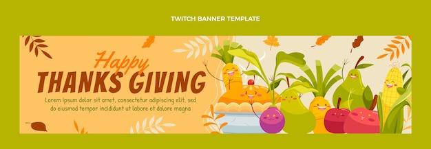 Handgezeichnetes flaches thanksgiving-twitch-banner