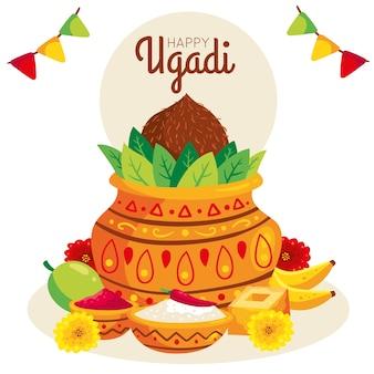 Handgezeichnetes fröhliches ugadi festivalthema