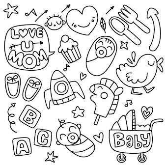 Handgezeichnetes gekritzel der aufkleberikonen, kinder und mutter