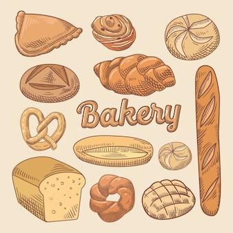 Handgezeichnetes gekritzel der bäckerei mit verschiedenem brot