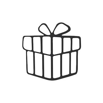 Handgezeichnetes gekritzel der geschenkbox gebundenes band cartoon-skizze vektor-illustration