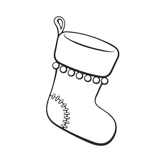Handgezeichnetes gekritzel der weihnachtssocke für geschenke vektor-illustration