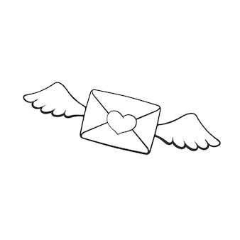 Handgezeichnetes gekritzel des fliegenden geschlossenen umschlags mit wachsherzherz und flügeln vektorillustration