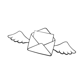 Handgezeichnetes gekritzel des fliegens geöffneter umschlag mit flügeln eingehende nachricht vektor-illustration