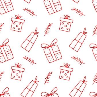 Handgezeichnetes gekritzel nahtloses muster mit geschenkboxen mit schleifen und bändern isoliert auf weiß