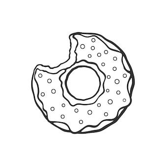 Handgezeichnetes gekritzel von gebissenem donut mit glasur und pulver cartoon-skizze vektor-illustration