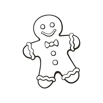 Handgezeichnetes gekritzel von weihnachtsplätzchen lebkuchenmannvektorillustration