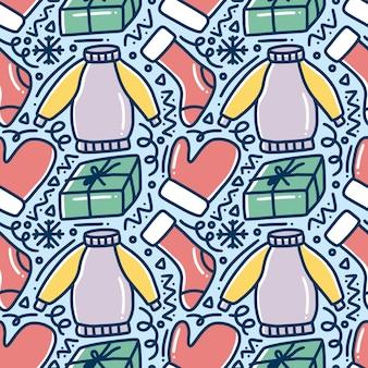Handgezeichnetes gekritzelmuster der winterkleidungskollektion mit ikonen und gestaltungselementen