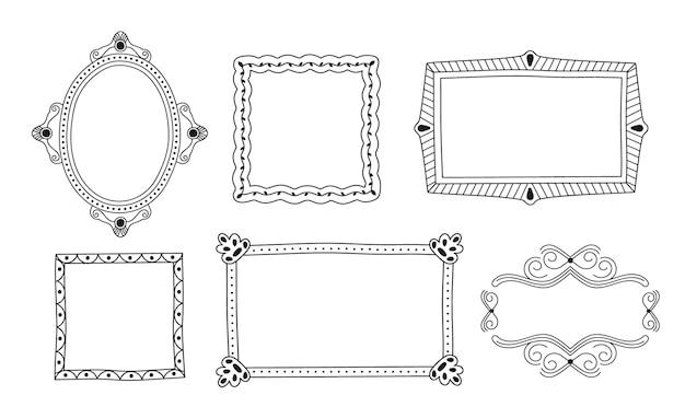 Handgezeichnetes gekritzelrahmen-ornament-paket