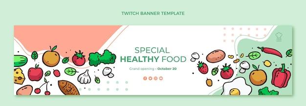 Handgezeichnetes gesundes essen zuckendes banner