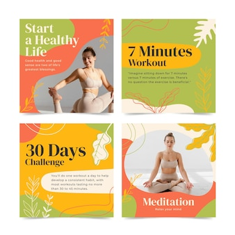 Handgezeichnetes gesundheits- und fitness-instagram-post-set