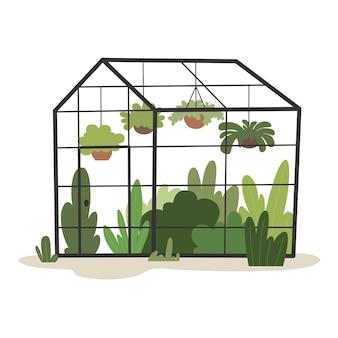 Handgezeichnetes gewächshaus mit pflanzen vektor-illustration der landwirtschaft im flachen stil