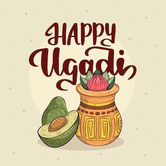 Handgezeichnetes glückliches ugadi konzept