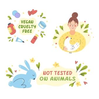 Handgezeichnetes grausamkeitsfreies und veganes konzept