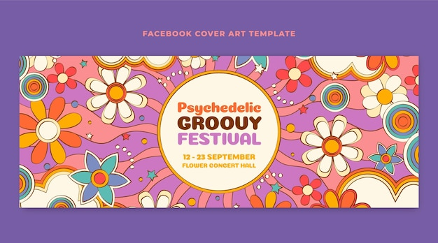 Handgezeichnetes grooviges psychedelisches facebook-cover