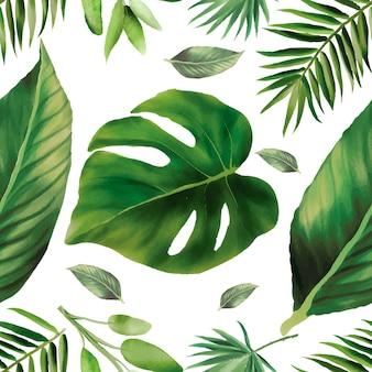Handgezeichnetes grünes aquarell verlässt nahtloses musterdesign