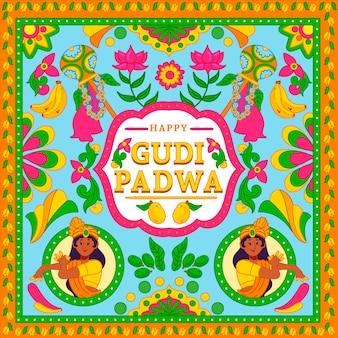 Handgezeichnetes gudi padwa banner