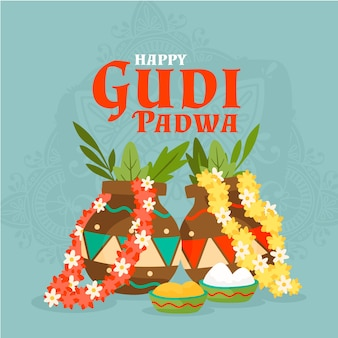 Handgezeichnetes gudi padwa design