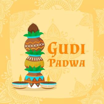 Handgezeichnetes gudi padwa-konzept