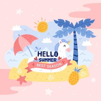 Handgezeichnetes hallo-sommer-konzept