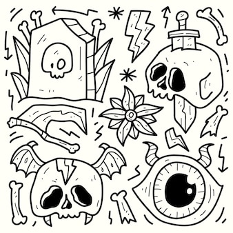 Handgezeichnetes halloween-cartoon-doodle-design