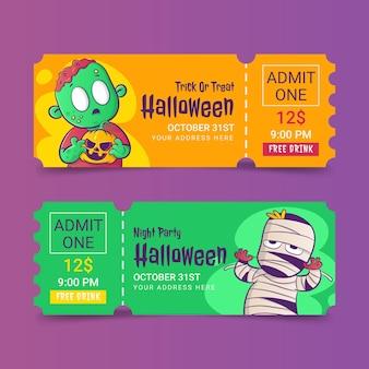 Handgezeichnetes halloween-ticket