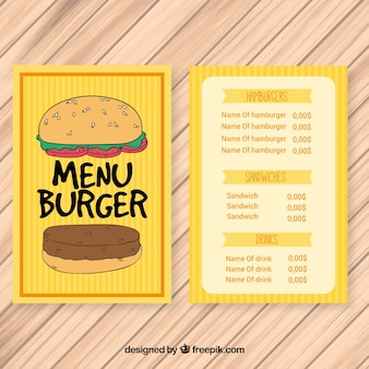 Handgezeichnetes hamburger gelbes menü