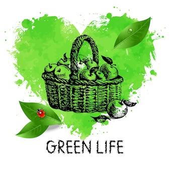 Handgezeichnetes herz-aquarell-symbol und skizzenillustration. umweltfreundliches banner. ökologie-design-poster