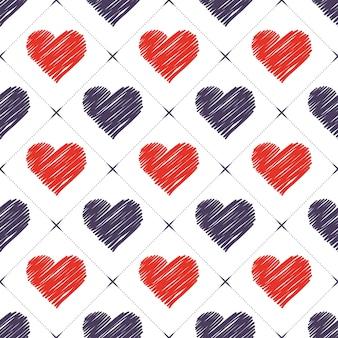 Handgezeichnetes herzmuster. valentinstag hintergrund für urlaubsvorlage. kreative und luxuriöse illustration