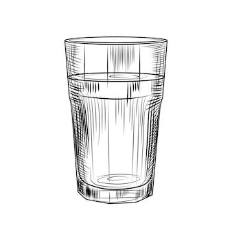 Handgezeichnetes highball-glas. collin-glas isoliert auf weißem hintergrund. gravur-stil. vektor-illustration