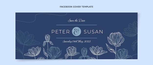 Handgezeichnetes hochzeits-facebook-cover