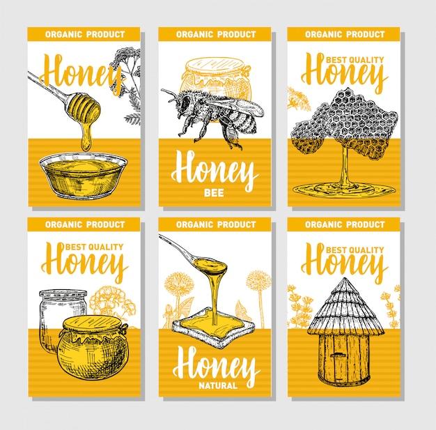 Handgezeichnetes honigplakatset. skizzieren sie vintage-stil. sammlung von 6 niedlichen kartenvorlagen mit handgezeichneten illustrationen. kartenentwurfsschablone. retro hintergrund.