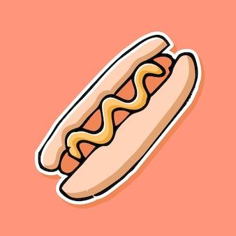 Handgezeichnetes hotdog-cartoon-design