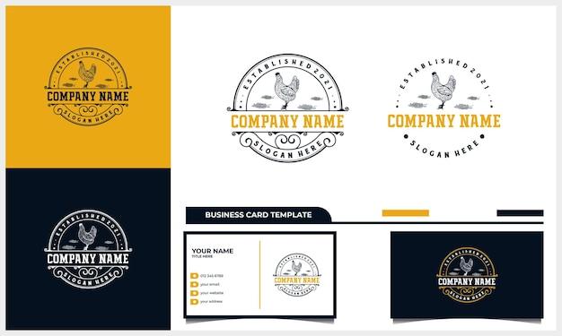 Handgezeichnetes hühnerhahn-vintage-logo-design mit visitenkartenvorlage