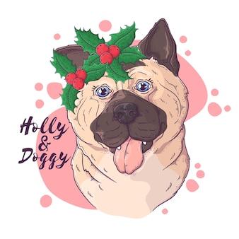 Handgezeichnetes hundeporträt mit weihnachtszubehör vector
