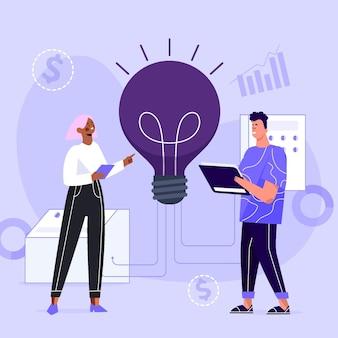 Handgezeichnetes illustriertes innovationskonzept